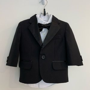 12M Nautical baby boys 4 piece black tuxedo